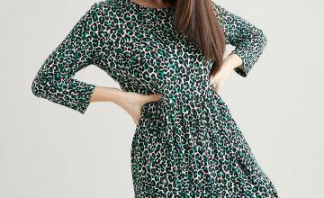 PETITE Green Leopard Print Jersey Maxi Dress