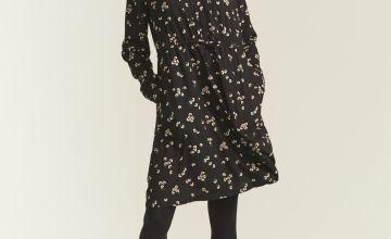 FATFACE Black Floating Bloom Madagan Midi Dress