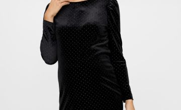 Black Velvet Embellished Maternity Dress
