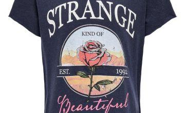 ONLY Kids Navy 'Strange' Slogan T-Shirt