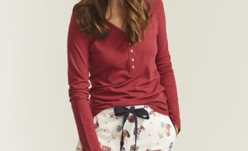 FATFACE Red Lace Henley Top