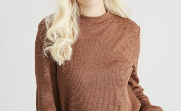 Brown Ribbed Coord Jumper