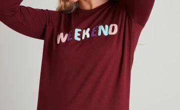 Dark Red Bouclé 'Weekend' Slogan Sweatshirt