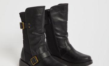 Black Buckle Detail Wedge Boot