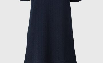 Navy Ponte Pleat Hem Dress