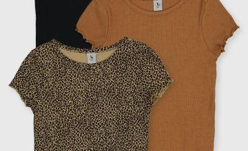 Leopard Print Rib T-Shirts 3 Pack