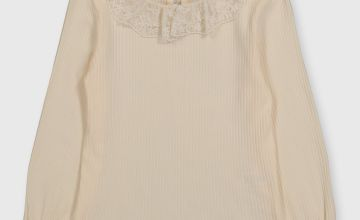 Cream Lace Collar Ribbed Top