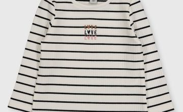 White Striped 'Love' Ribbed Top