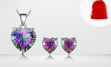 £9.99 instead of £138 for a two-piece mystic topaz heart jewellery set including pendant and earrings from Genova International Ltd - save 93%