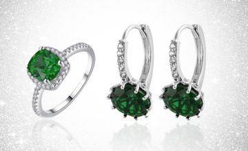£12.99 instead of £69.99 for a green crystal ring and earring set from GameChanger Associates - save 81%