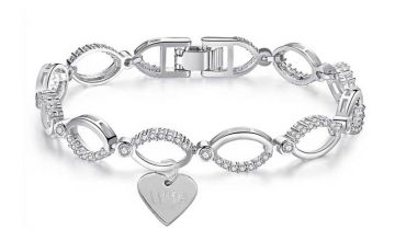 £12 instead of £99.99 (from Gemnations) for a multilink 'wife' charm bracelet made with crystals from Swarovski ® - save 88%