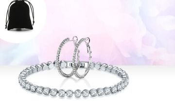 £6.99 instead of £89 for a crystal tennis bracelet and hoop earrings set from Genova International Ltd - save 92%