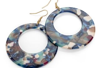 £6.99 instead of £39.99 (from Gem Nations) for a pair of blue marble effect drop hoop earrings - save 83%
