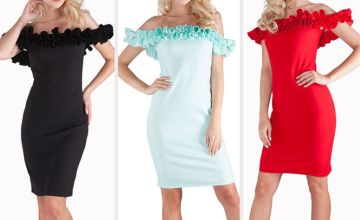 £13.98 (from Alexanna Boutique) for a bardot frill dress – choose from three colours!