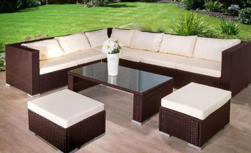 £379 instead of £1699 (from Dining Tables) for a nine-seater rattan sofa, stool and table set - save 78%