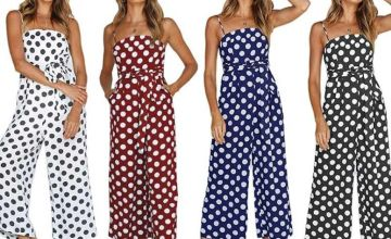 £11.99 (from Boni Caro) for a polka dot cropped jumpsuit - choose between black, navy, white or wine colours!