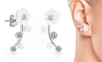 £5.99 instead of £17.99 for a pair of daisy climber earrings made with crystals from Swarovski® - choose from three colours from Silver Supermarket Ltd - save 67%