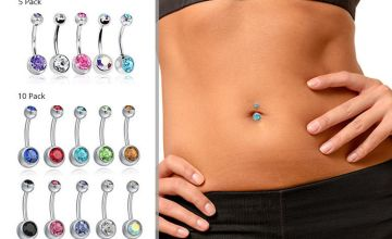 From £2.99 for five or 10 double-jewelled belly button bars from London Exchain Store - save up to 80%