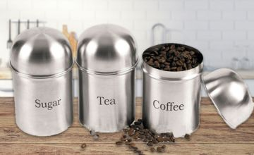 £7.99 instead of £29.99 for a three-piece tea, coffee and sugar tin set from Direct2Public Ltd - save up to 73%