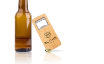£3.99 (from Personalised Gifts Market) for a personalised engraved rectangle bottle opener!