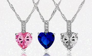 £5.99 instead of £69.99 for a beautiful heart cut zircon pendant - select from three colours and save 91%
