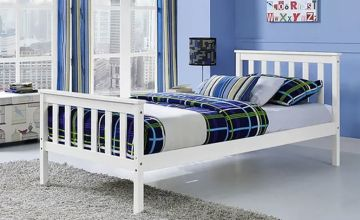 £55 instead of £210 (from UK Furniture Zone) for a white pine wood bed frame - choose from three sizes and save up to 74%
