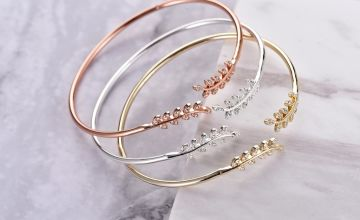 £7.99 instead of £19.99 for a Philip Jones leaf bangle made with crystals from Swarovski - choose from three colours from Silver Supermarket Ltd - save 60%