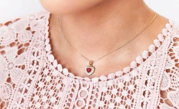 £19.99 (from Ah! Jewellery) for a gold-filled genuine ruby heart necklace