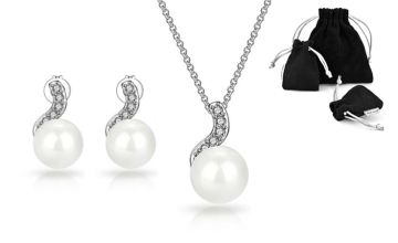 £8.99 instead of £21.99 (from Philip Jones) for a pearl-inspired spiral earrings and necklace set made with crystals from Swarovski ® - save 59%