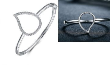 £12.99 instead of £89 for a silver pear shaped crystal bangle from Genova International Ltd - save 85%