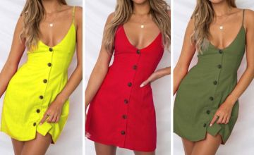 £9.99 instead of £39.99 (from Blu Fish) for a button down mini dress – choose from six colours and save 75%