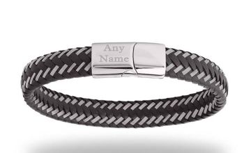 £16 instead of £86 (from Optima Jewellery) for a personalised men's plaited leather bracelet - save 81%