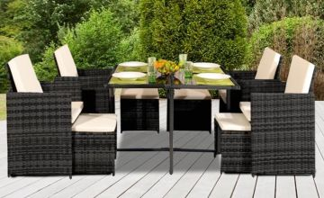 £299 instead of £1199.99 (from UKFurniture4U) for a nine-piece polyrattan cube dining set, £339 for a dining set with waterproof cover –save up to 75%