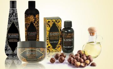 £12.99 (from Trojan Electronics) for a four-piece macadamia oil extract hair treatment set