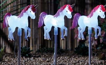 £14.99 instead of £24.99 (from CJ Offers) for a set of three solar-powered unicorn lights –save 40%