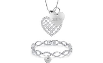£19.99 instead of £129.99 (from Gemnations) for a multi-link mum bracelet and pendant pendant set made with crystals from Swarovski ® - save 85%