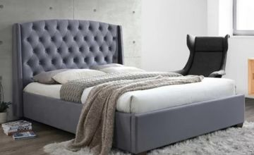 From £229 (from FTA Furnishing) for a luxurious grey velvet bed with wingback headboard, £329 for a bed with a 15cm memory foam mattress, or £399 for a bed with a 25cm mattress!