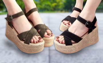 £12 (from Backtogoo) for a pair of criss cross platform espadrille sandals – choose from three colours