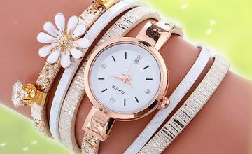 £6.99 instead of £19 for a daisy crystal wrap watch - choose from three colours from Solo Act Ltd - save 63%