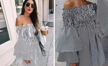 £8.99 instead of £24 (from SpeZ Z ee) for an off-shoulder striped flared sleeved dress - save 63%