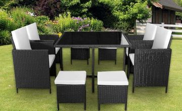 £249.99 instead of £974.01 for a nine-piece cube rattan furniture set - choose from black and brown and save 74%