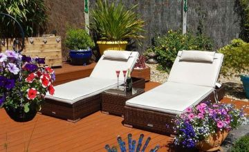£349 instead of £998 (from RattanDirect) for a Miami polyrattan garden sun lounger set in chocolate and cream - save 65%