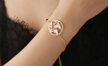 £4.99 instead of £18 (from SpeZ Z ee) for a world map pendant bracelet – choose from three colours and save 72%