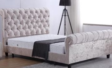 From £179 for double bedstead or (£199) for a Alanya Sleigh Crushed Velvet Bed with Headboard from Furniture Imports LTD - save up to 36%