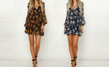 £10.99 (from Yello Goods) for a long sleeve floral dress - choose from two colors!