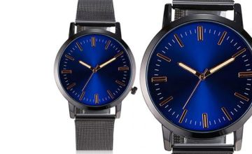£12.99 (from CNC Group) for a personalised ladies' watch with a blue dial!