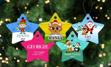 £3.99 instead of £8.39 (from Dinkleboo) for a personalised Christmas tree star decoration - save 56%