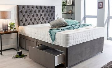 From £169 instead of £499 (from Sleepyn) for a velvet plush divan bed with headboard and mattress - choose from various sizes and drawer options while saving up to 66%