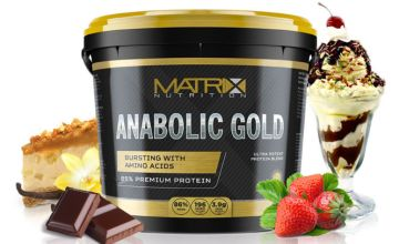 £14.99 instead of £29.99 (from CJ Offers) for a 1kg pot of Matrix Nutrition Anabolic Gold protein powder, £22.99 for a 2.25kg pot of protein powder or £36.99 for a 5kg pot of protein powder - save up to 50%