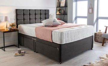From £99 instead of £325 (from Sleepyn) for a luxury charcoal suede divan bed set with mattress and headboard - save up to 70%